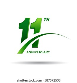11 years anniversary. celebration logo design