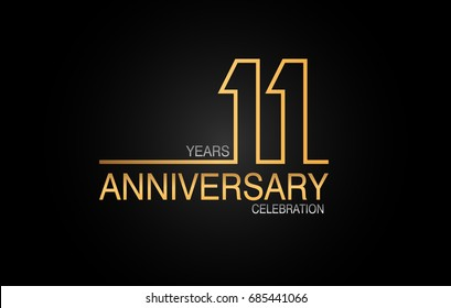 11 years anniversary celebration logotype. anniversary logo with golden and silver color isolated on black background, vector design for celebration, invitation card, and greeting card