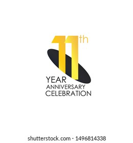 11 years anniversary celebration Yellow Color Design logotype. anniversary logo isolated on White background, vector Horizontal number design for celebration, invitation card, and greeting - Vector