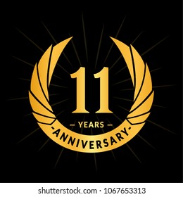 11 years anniversary. Elegant anniversary design. 11 years logo.
