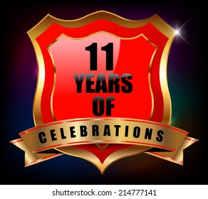 11 years anniversary golden celebration label badge - vector eps10