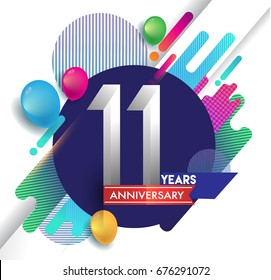 11 years Anniversary logo with colorful abstract background, vector design template elements for invitation card and poster your birthday celebration.