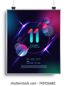11 Years Anniversary Logo with Colorful Galactic background, Vector Design Template Elements for Invitation Card and Poster Your Birthday Celebration.