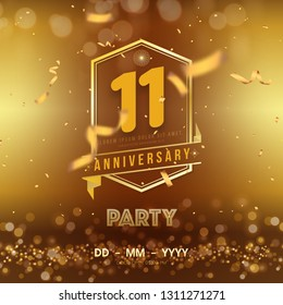 11 years anniversary logo template on gold background. 11th celebrating golden numbers with red ribbon vector and confetti isolated design elements