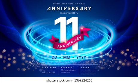 11 years anniversary logo template on dark blue Abstract futuristic space background. 11th modern technology design celebrating numbers with Hi-tech network digital technology concept design elements.
