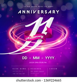 11 years anniversary logo template on purple Abstract futuristic space background. 11th modern technology design celebrating numbers with Hi-tech network digital technology concept design elements.