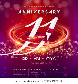 11 years anniversary logo template on red and pink Abstract futuristic space background.11th modern technology design celebrating numbers with Hi-tech network digital technology concept design element