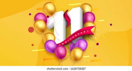 11 years anniversary logo template design on yellow background and balloons. 11th anniversary celebration background with red ribbon and balloons. Party poster, brochure template. Vector illustration.