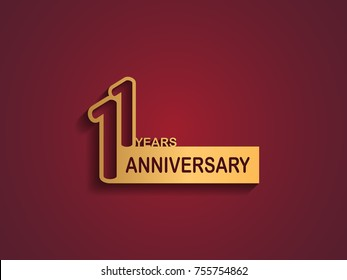 11 years anniversary logotype with outline number golden color on red background