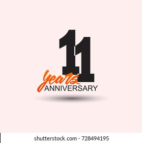 11 years anniversary simple design with negative style and yellow color isolated in white background