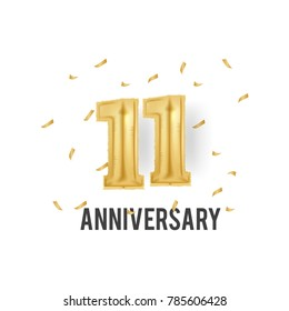 11 Years Golden Aluminum Foil Balloon anniversary logotype with golden confetti isolated on white background