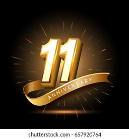 11 years golden anniversary logo celebration with firework and ribbon