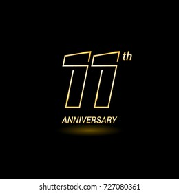 11 years golden line anniversary celebration logo design