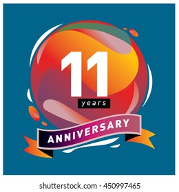 11 years greeting card anniversary with colorful number and frame. logo and icon with circle badge and background