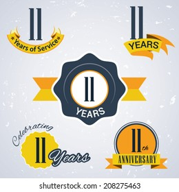 11 years of service/ 11 years / Celebrating 11 years / 11th Anniversary - Set of Retro vector Stamps and Seal for business