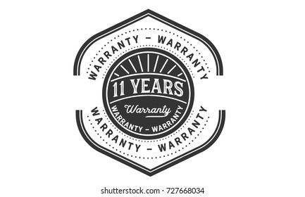 11 years warranty icon vintage rubber stamp guarantee