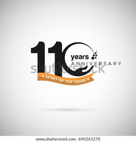 110 years anniversary logo template ribbon のベクター画像素材