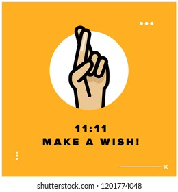 11:11 make a wish vector quote poster
