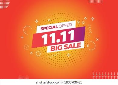 11.11 mega sale,singles daysale flyer,web banner, template.Crazy sales online.11.11 Shopping day sale poster or flyer design
