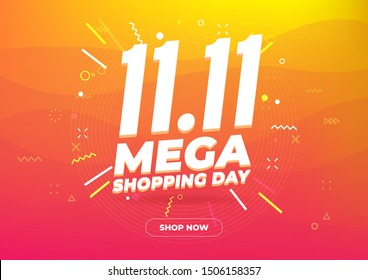 11.11 Mega shopping day sale poster or flyer design. Global shopping world day Sale on colorful background. 11.11 Crazy sales online.