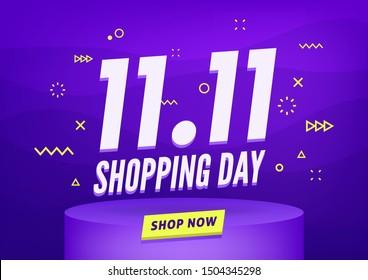 11.11 Conception d'affiches ou de prospectus de vente le jour du shopping. Journée mondiale du shopping Vente sur fond coloré. 11.11 Ventes folles en ligne.