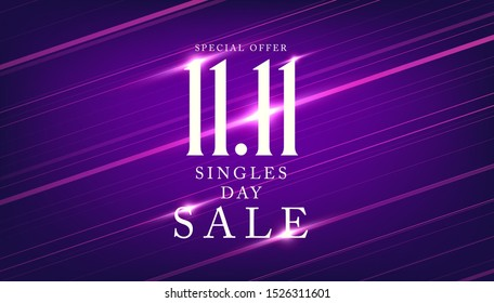 11.11 Singles day sale banner. Global shopping world day.
