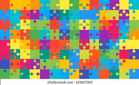 112 Multi Color Puzzles Pieces - Vector Illustration.  Jigsaw Puzzle Blank Template or Cutting Guidelines 8:14 Ratio. Vector Background.