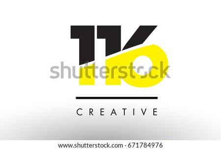 116 Black Yellow Number Logo Design Stock Vektorgrafik Lizenzfrei