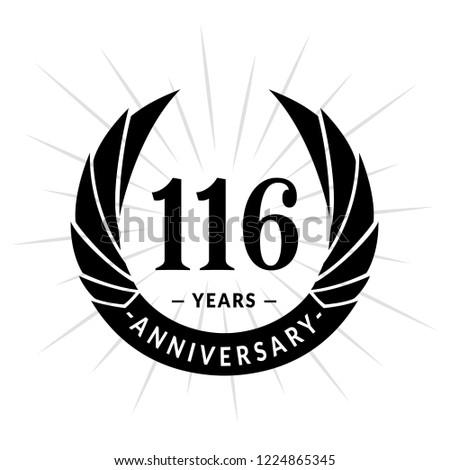 116 Years Anniversary Elegant Anniversary Design Stock Vektorgrafik