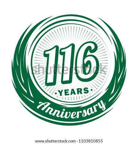 116 Years Anniversary Anniversary Logo Design Stock Vektorgrafik