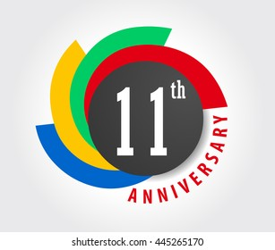 11th Anniversary celebration background, 11 years anniversary card illustration - vector eps10