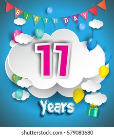 11th Anniversary Celebration Design, with clouds and balloons, confetti. Vector template elements for your, eleven years birthday celebration party.