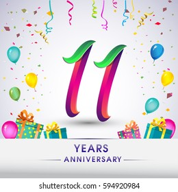 11th Anniversary Celebration Design, with gift box, balloons and confetti, Colorful Vector template elements for your, eleven years birthday celebration party.