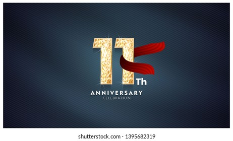 11th Anniversary celebration - Golden numbers with red fabric background