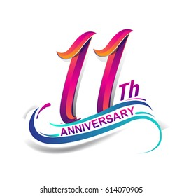 11th anniversary celebration logotype blue and red colored. eleven years birthday logo on white background.