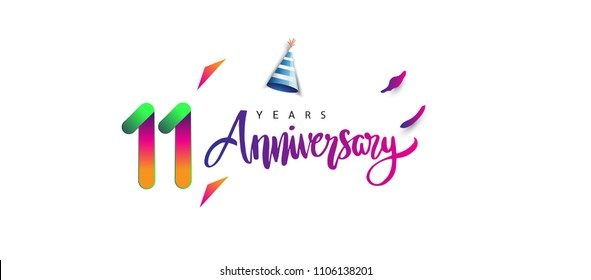 11th anniversary celebration logotype and anniversary calligraphy text colorful design, celebration birthday design on white background.