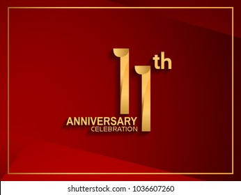 11th anniversary celebration logotype golden color isolated on red color