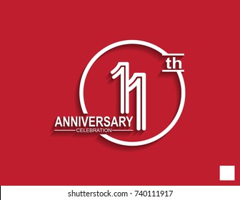 11th anniversary celebration logotype with linked number in circle isolated on red background