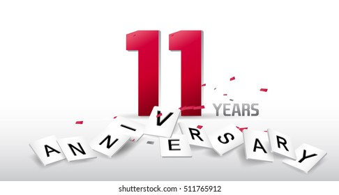11th anniversary celebration. Poster or brochure template. Vector illustration.