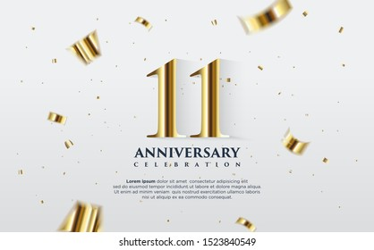 11th anniversary celebration vector background. by using three colors in the design between white, gold and black. vectors can be edited easily according to their needs and desires.