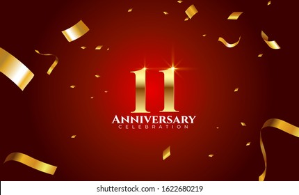 11th Anniversary celebration Vector background by using two colors in the design between gold and red, Golden number 11 with sparkling confetti Realistic 3d sign. Birthday or wedding party