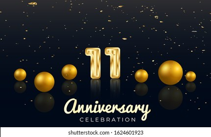 11th Anniversary celebration Vector background by using two colors in the design between gold and red, Golden number 11 with Realistic 3d sign & gold Sphere for Birthday or wedding party
