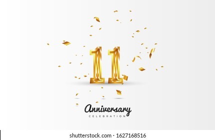 11th Anniversary celebration Vector background by using two colors in the design between gold and white, Golden number 11 with sparkling confetti Realistic gold 3d sign. Birthday or wedding party