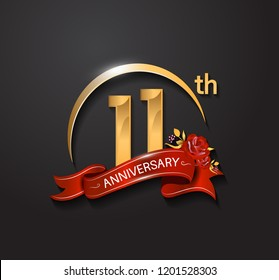 11th anniversary design logotype with golden swoosh, red ribbon and red rose. Vector template for use in celebration company event, greeting card, and invitation card