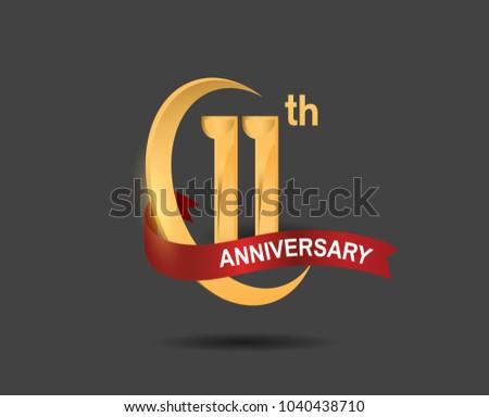11 Th Anniversary Design Logotype Golden Color Stock Vector