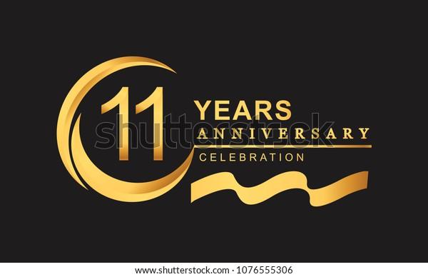 11th Anniversary Design Logotype Golden Color Stock Vector