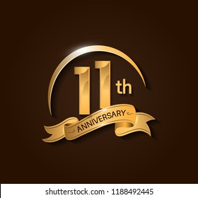 11th Anniversary design logotype. Anniversary logo design with swoosh and elegance golden ribbon. Vector template for use celebration, invitation card, and greeting card