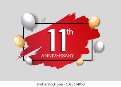 11th anniversary design with red brush, balloons, and square isolated on white background for celebration