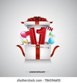 11th anniversary design with red number inside gift box isolated on white background for celebration event