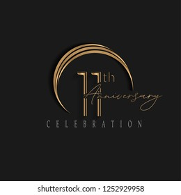 11th anniversary, design templates vector and illustrations with golden color and dark background